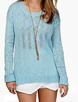 Women's Solid Blue Pullover , Sexy / Casual Long Sleeve