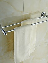 Elegant Silver Crystal Brass Double Towel Bar