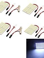 youoklight® 4pcs t10 8w 500lm 48 x 5050 SMD LED blanco coche ligero lectura del adorno de la luz de luz / Panel - (DC12V)