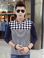 Qiu dong men leisure grid stripe collar zipper long sleeve T-shirt shirt, cultivate one's morality