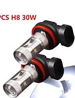 2 x 30w blanco de alta potencia h8 llevó la luz de niebla drl bombillas / conducción lámpara de luz 12v-24v