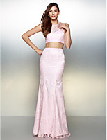 Formal Evening Dress - Blushing Pink Trumpet/Mermaid Halter Floor-length Lace