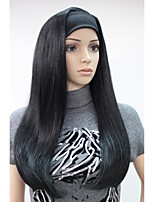 New Fashion 3/4 Wig With Headbands jet black Long Straight Synthetic Half Wig 679B#1