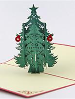 5pcs / set árbol de navidad del corte del laser 3d pop-up de papel hecho a mano tarjetas de felicitación de encargo del navidad regalos de