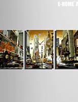 E-HOME® City Building Clock in Canvas 3pcs