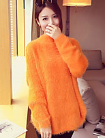 Women's Solid White / Orange Pullover , Casual / Cute / Party / Work / Plus Sizes Long Sleeve