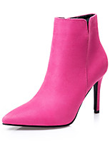 Scarpe Donna - Stivali - Formale - Tacchi / Stivaletto / A punta / Chiusa - A stiletto - Scamosciato -Nero / Rosa / Grigio / Borgogna /