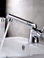HPB Contemporary Pullout Spray Chrome Finish Brass One Hole Single Handle Sink Faucet