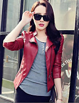 Women's Solid Red / Black Jackets , Vintage / Casual Shirt Collar Long Sleeve
