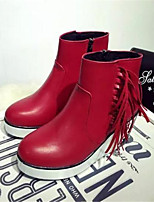 Women's Shoes Wedge Heel Round Toe Boots Casual Black / Red