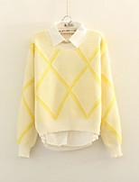 Women's Geometric Yellow / Gray Pullover , Casual Long Sleeve