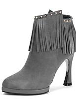 Damesschoenen - Formeel / Casual - Zwart / Grijs - Stilettohak - Gepunte neus / Modieuze laarzen - Laarzen - Leer