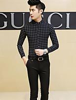 Men's Long Sleeve Shirt , Nylon Casual Plaids & Checks
