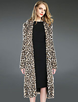 Women Fashion Leopard Print Faux Fur Outerwear , Lined