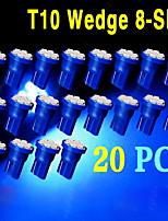 20 x t10 ultra blu super luminoso a 8-smd lampadine 194 2825 921 168 175 501
