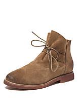 Chaussures Femme - Habillé / Décontracté - Noir / Brun Clair / Bordeaux - Talon Plat - Confort / Bottine / Bout Arrondi - Plates / Bottes