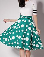 Women's Print Black / Green Skirts , Casual Knee-length