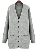 Women's Geometric / Solid Red / Beige / Gray Cardigan , Vintage / Casual / Party / Work / Plus Sizes Long Sleeve