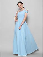 Brautjungfernkleid - Himmelblau Georgette - A-Linie - bodenlang - 1-Schulter