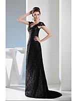 저녁 정장파티 드레스 - 블랙 A라인 스위프/브러쉬 트레인 V넥 레이스