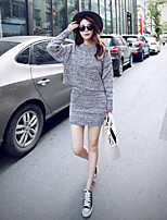 Women's Solid Gray Dress , Sexy / Casual Long Sleeve