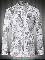 Men's Fashion Casual Long Sleeved Printing Plus Size Shirt , Cotton