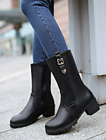 Women's Shoes Leatherette Chunky Heel Riding Boots /  Comfort / Round Toe Boots Outdoor / Dress / Casual Black / Brown