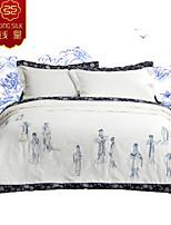 juegos de sábanas de invierno de seda manta edredón edredón de seda nuevos llegan blanco cuatro temporadas edredones de seda bordado chino