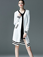 Women's Print White / Black Cardigan , Casual Long Sleeve