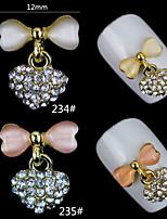 5PCS Bow Tie Charm Alloy 3d Rhinestone  Pendant Nail Art Slice Decorations Nail Beauty Tools