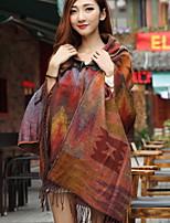 Women Maple Hooded Cloak Cape
