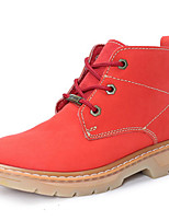 Women's Shoes Leather Flat Heel Motorcycle Boots / Combat Boots Boots Outdoor / Casual Red