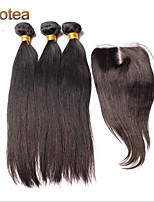 3pcs Lot Brazilian Virgin Hair  With  Closure Straight Human Hair Extensions Natural Black Hair Weaves