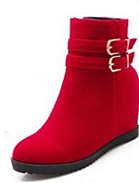 Zapatos de mujer - Tacón Cuña - Botas a la Moda - Botas - Vestido / Casual / Fiesta y Noche - Semicuero - Negro / Azul / Rojo