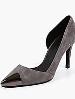 Women's Shoes Leather Stiletto Heel Heels / Pointed Toe Heels Dress Blue / Gray / Khaki