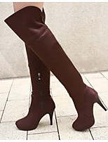 Women's Shoes Leatherette Stiletto Heel Heels / Round Toe Boots / Office & Career / Casual Black / Blue / Brown / Yellow