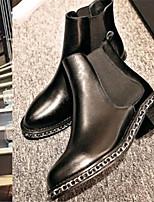 Zapatos de mujer - Tacón Robusto - Puntiagudos - Botas - Casual - Semicuero - Negro