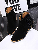 Women's Shoes Suede Chunky Heel Round Toe Boots Casual Black / Brown