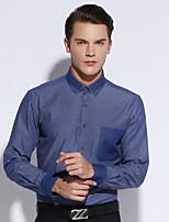 Shirts Button Down Collar Long Sleeve Cotton Gingham Dark Navy / Sky Blue