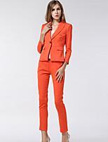 Women's Solid Orange Blazer , Work Notch Lapel Long Sleeve