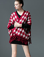 Women's Geometric Blue / Red / Black Cardigan , Casual Short Sleeve