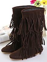 Calçados Femininos - Botas - Arrendondado / Bico Fechado - Rasteiro - Preto / Marrom / Amarelo - Poliester - Casual