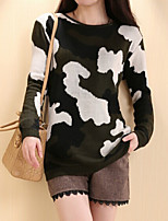 Women's Classic Camouflage Green Pullover , Vintage / Casual Long Sleeve