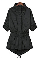 Women's Solid Trench Coat , Vintage / Casual