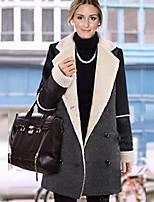 Women's Solid / Patchwork / Color Block Black / Gray Coat , Casual Long Sleeve Tweed