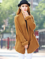 Women's Solid Red / Yellow / Beige Cardigan , Casual Long Sleeve