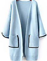 Women's Solid Blue / White Cardigan , Casual Long Sleeve