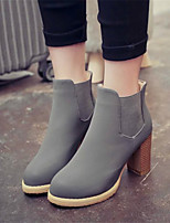 Women's Shoes Chunky Heel Round Toe Boots Casual Black / Brown / Gray