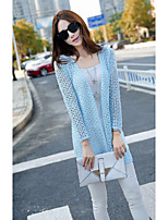 Women's Solid Blue / White / Black Cardigan , Casual Long Sleeve