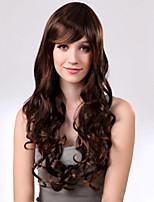 Capless Mixed Hair Long Wavy Light Chestnut Brown Hair Wigs